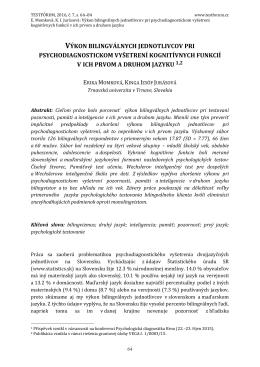 výkon bilingválnych jednotlivcov pri psychodiagnostickom vyšetrení