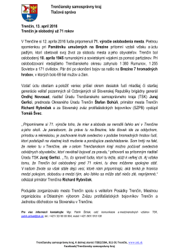 Trenčiansky samosprávny kraj Tlačová správa Trenčín, 13. apríl