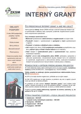 Manuál pre Interný grant 2016