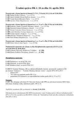Úradná správa DK č. 24 zo dňa 14. apríla 2016