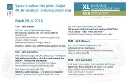 Přednášky zahraničních řečníků - pátek 29. dubna 2016