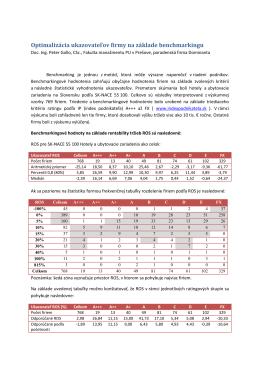 2. Benchmarkingová hodnota ROS pre hotelové a