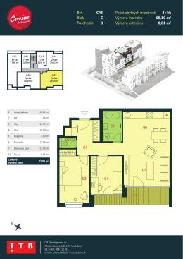 Byt C45 Blok C Poschodie 3 Počet obytných miestností 3+kk Výmera