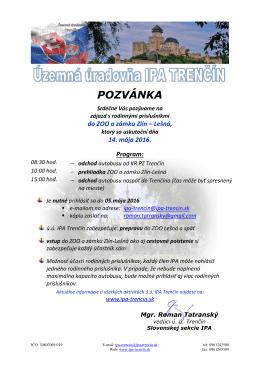 pozvánka - IPA Trencin