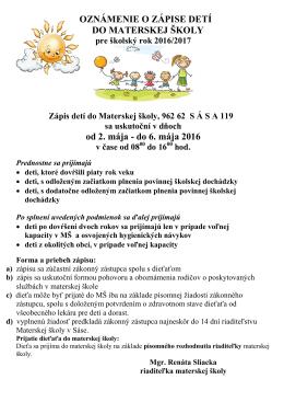 Zápis detí a deň otvorených dverí v MŠ Sása PDF