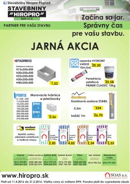 Jarná Akcia - Hiropro spol. s ro