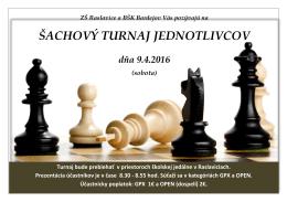 šachový turnaj jednotlivcov