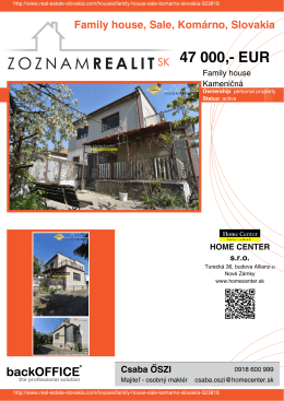 47 000,- EUR - Real Estate Slovakia