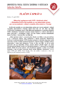 2016-04-15 TS ocenenie spolupracovnika UPJS LF z Holandska