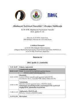 Alkalmazott Nyelvészeti Tanszékek 7. Országos Találkozója