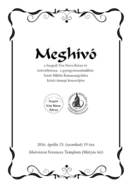 Meghívó - Szegedi Vox Nova Kórus