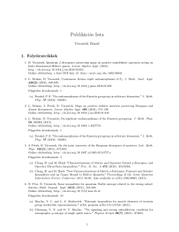 Publikációs lista