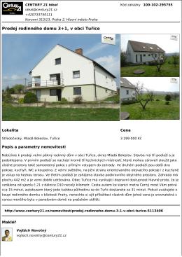 Prodej rodinného domu 3+1, v obci Tuřice