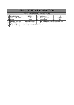 4. Základní údaje o jednotce