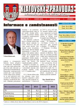 Klatovský zpravodaj 4/2016