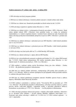 Souhrn usnesení ze 47. schůze rady města