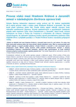 Provoz vlaků mezi Hradcem Králové a Jaroměří omezí v