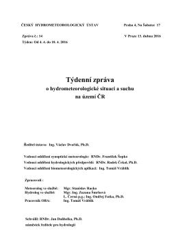 Týdenní zprávě o hydrometeorologické situaci a suchu na území ČR