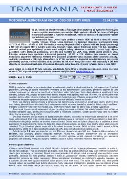 motorová jednotka m 494.001 čsd od firmy kres 12.04
