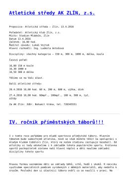Atletické středy AK ZLÍN, zs,IV. ročník