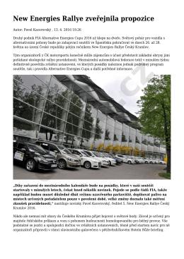 New Energies Rallye zveřejnila propozice