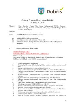 Zápis ze 7. jednání Rady města Dobříše ze dne 5.4.2016