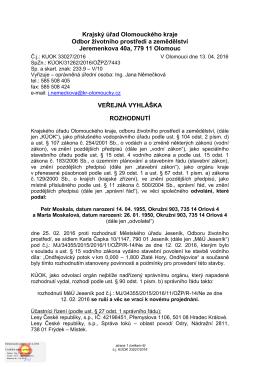 Krajský úřad Olomouckého kraje Odbor životního prostředí