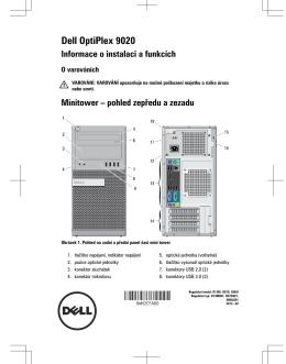 Dell OptiPlex 9020 Informace o instalaci a funkcích