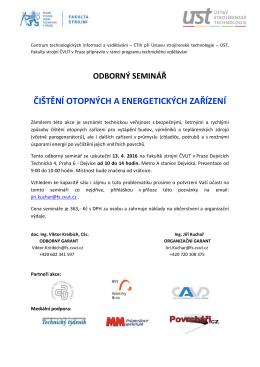 odborný seminář čištění otopných a energetických zařízení