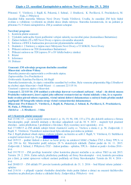 Zápisy z jednání zastupitelstva městyse