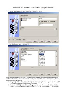 Seznamte se s prostředí AVR Studia a vývojovým kitem.
