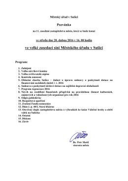 Pozvánka na 11. zasedání zastupitelstva města