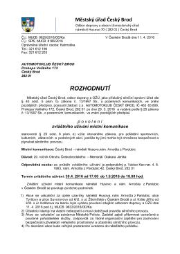 ROZHODNUTÍ - Město Český Brod