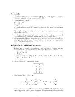 Gramatiky Deterministické konecné automaty