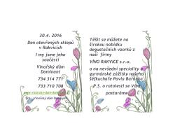30.4. 2016 Den otevřených sklepů v Rakvicích I my jsme jeho
