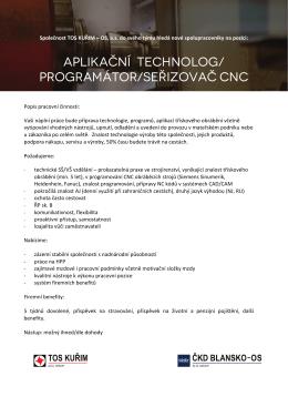 aplikační technolog/ programátor/seřizovač cnc