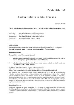 Schválení záměru statutárního města Přerova zadat veřejnou zakázku