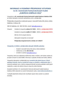 KUBEŠOVA SOBĚSLAV 2016 - 22. Mezinárodní festival dechovýh