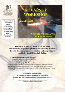 Kovářský workshop 9.4.2016 pro dospělé