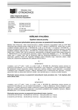 Veřejná vyhláška, opatření obecné povahy, stanovení