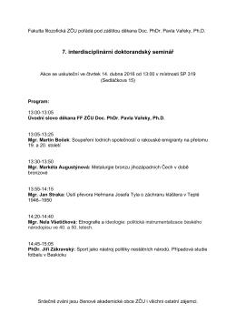 7. interdisciplinární doktorandský seminář