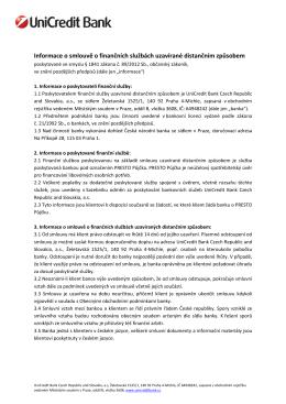 Informace o smlouvě o finančních službách