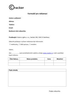 Formulář pro reklamaci