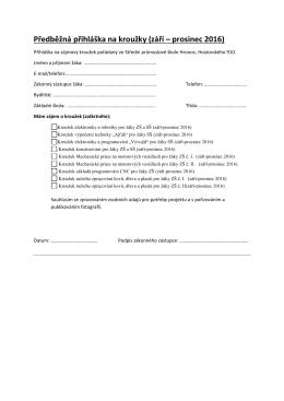Předběžná přihláška na kroužky (září – prosinec 2016)