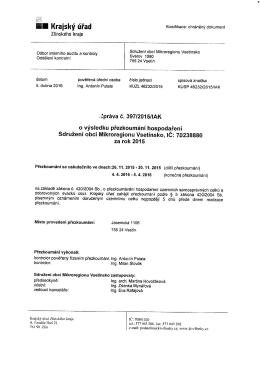 Zpráva o výsl. hosp. SOMV 2015