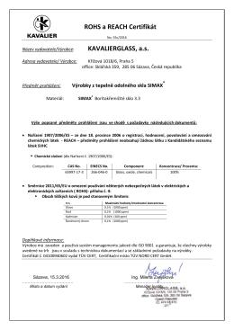 Certifikát 55c_2016 Reach SIMAX