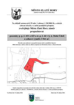 zveřejňuje Město Zlaté Hory záměr propachtovat pozemky pp č. 421