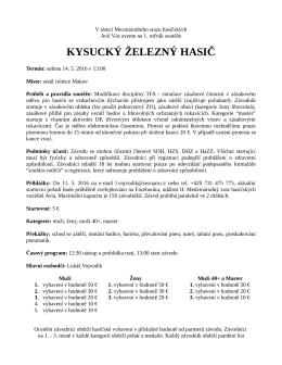 TFA Kysuce - propozice