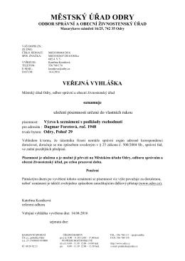MěÚ Odry - Veřejná vyhláška