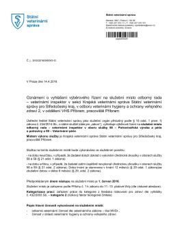 Oznámení o vyhlášení výběrového řízení na služební místo odborný